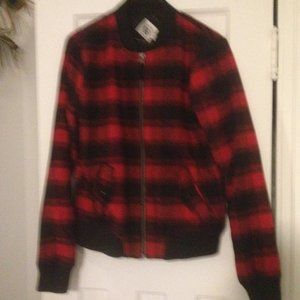 Boys Volcom red and black lumberjack style jacket.